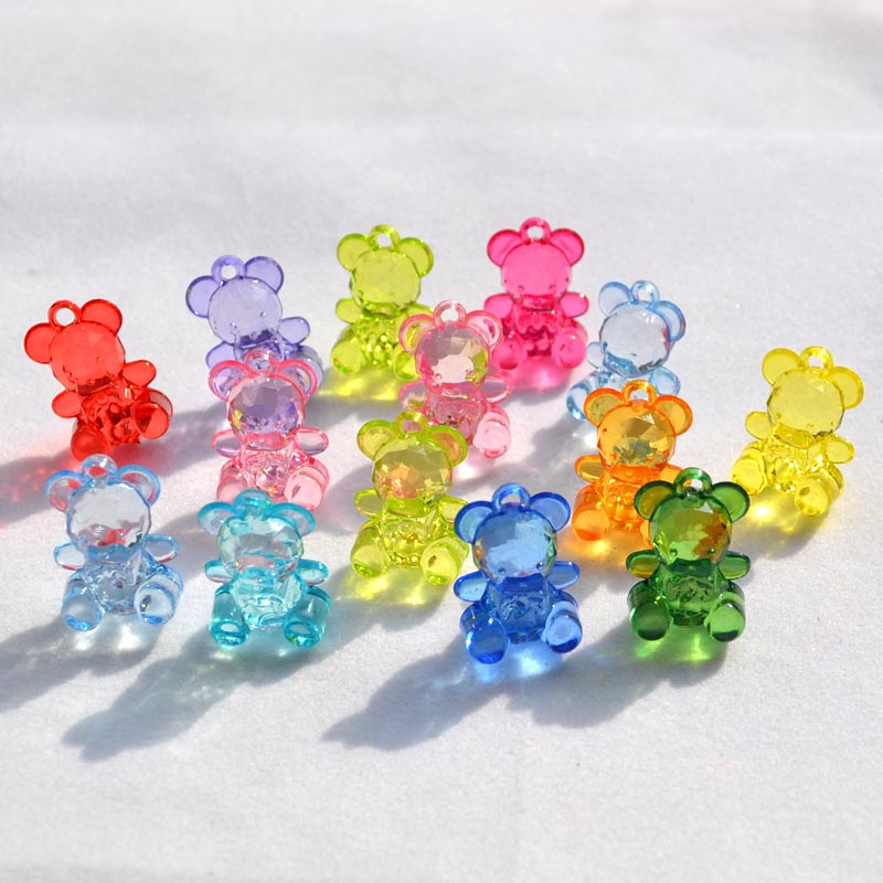 supply DIY fashion jewelry Accessory,Pendant Accessory,Transperant Acrylic Beads,20*15MM Cartoon Bear,mix color(China (Mainland))