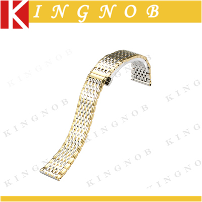 Stainless Steel Strap 18mm Flat Straight End Metal Bracelet Watch Band Yellow Gold Watchband for Longines Women Top Quality New(China (Mainland))