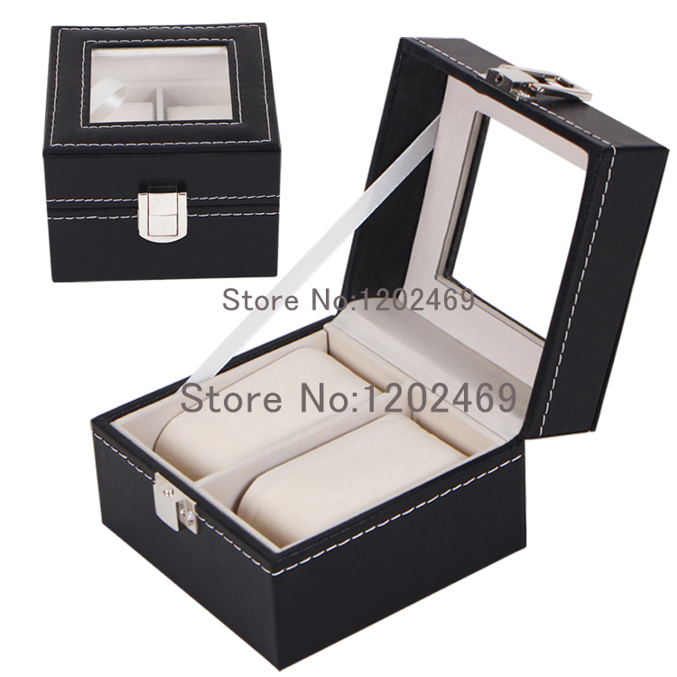 Wholesale 2 Grid Slots Gift Case Jewelry&amp;Watches Storage Holder Display Wrist Watches Boxes Plastic/Leather,Caja Para Reloj<br><br>Aliexpress