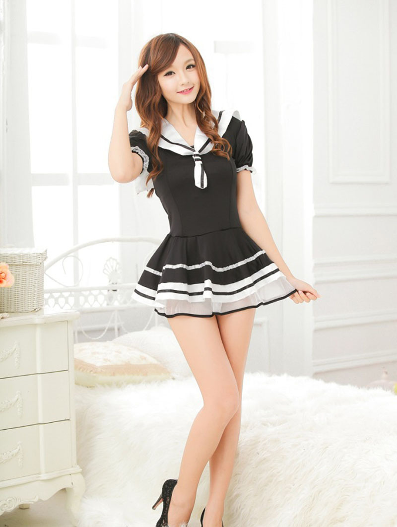 Black match white pure lovely Japanese girl style schoolwear uniforms manufacturers selling sexy lingerie(China (Mainland))
