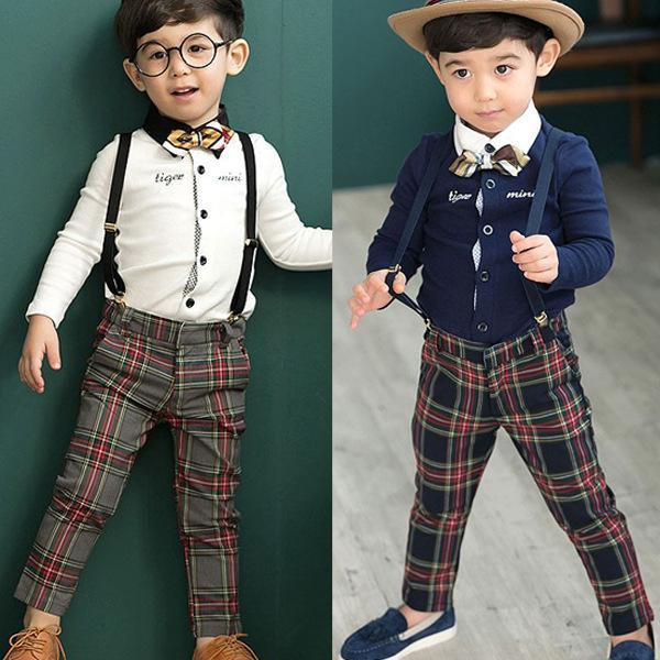Fashion Autumn Children Gentleman Set Baby Boys Bow Tie Long Sleeve T Shirt Tops +Plaid Suspender Pants Kids 2pcs Suit A1676(China (Mainland))