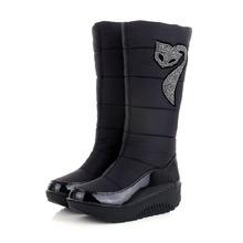 Caliente Grueso de Piel Botas de Nieve de Algodón Zapatos de Invierno Para Mujer Cuñas Plataforma de la manera de Down Mujeres Botas de Mitad de la Pantorrilla Media Rodilla botas(China (Mainland))