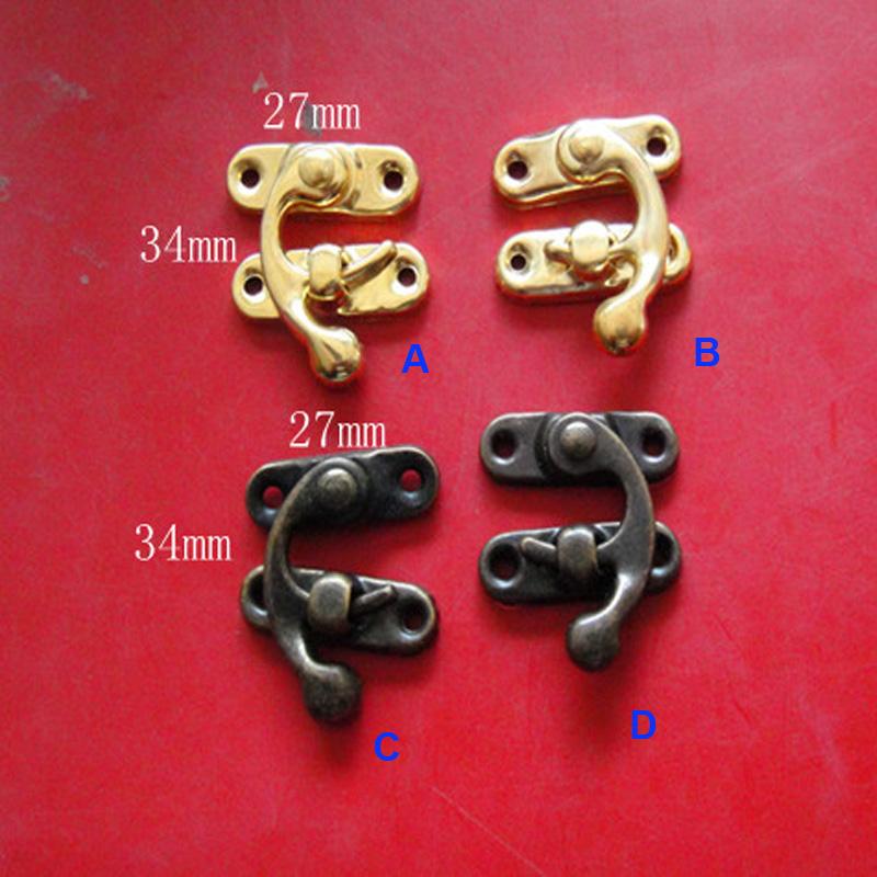 10 Sets/lot Decorative Antique Metal Padlock Hasp Lock Wooden Jewelry Box Latch Purse Clasp Lock 27*34mm Free Shipping(China (Mainland))