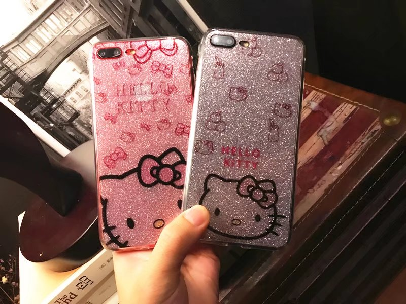 Soft TPU Silicone Case hello kitty Back cover For iphone 6 6S Plus 7 7 Plus Bling Glitter Powder Shine Cell Phone Case(China (Mainland))
