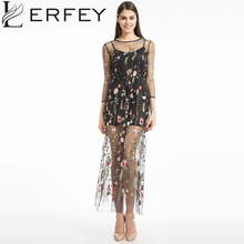 Buy LERFEY Women Embroidery Flower Casual Dress Summer Two Piece Mesh Maxi Dress Black Dresses Long Sexy Dress Clothing Vestidos for $17.99 in AliExpress store