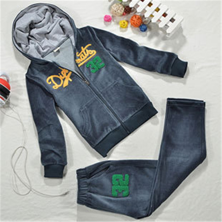 Boys Velvet Clothing Suit Letter Print Hooded Outfit with Zipper Up & Pockets, Free Shipping A3090(China (Mainland))