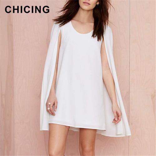 CHICING Latest Designs Sexy Party Club Dress 2015 O-Neck Shawl Cloak Summer Elegant Loose Chiffon Dress Short Dress B1505077(China (Mainland))