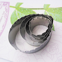 2016 Stainless Steel Rose Flower Petal Sawtooth Lines Cookie Cutter Fondant Mold Cake Decorating Tools Kitchen Accessories SA349