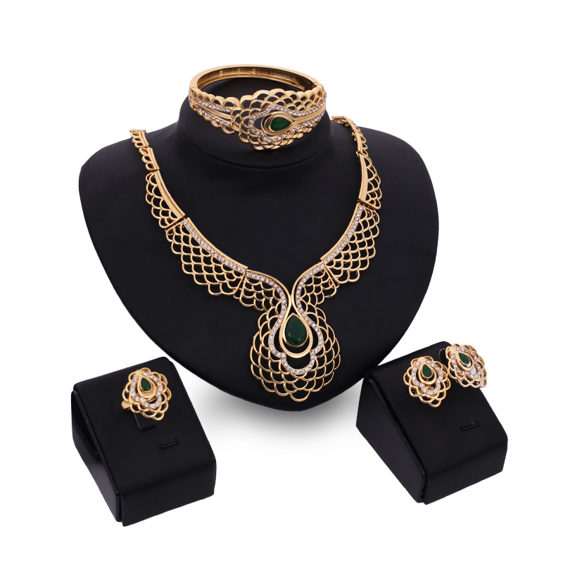 New Fashion Wedding Bridal Jewelry Sets With Crystal Water Drop Necklace Earrings Bangle Ring African Gold Plated Jewelry Sets(China (Mainland))