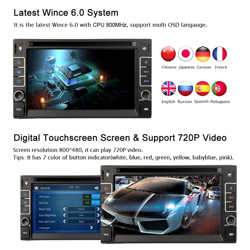 2015 Car Dvd Gps 2DIN 6 2 Lastest Dual Core Wince 6 0 Touch Screen Dvd