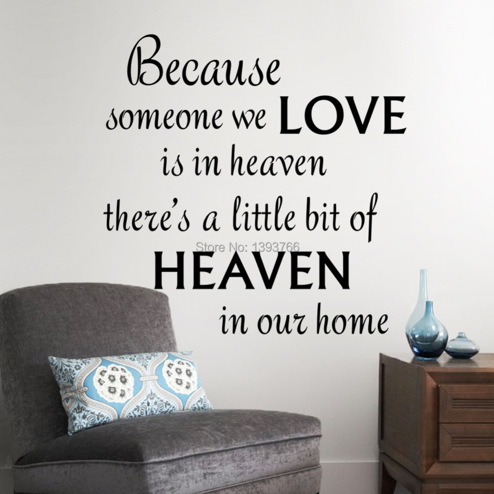 Love heaven in our home wall decals quote wall decorations for Decoration quotes sayings