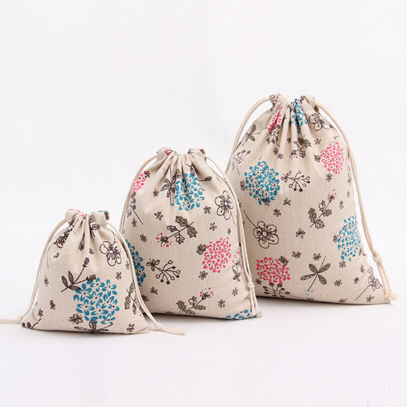 Vintage Cotton linen Storage Bag for Sundries / Retro Draw Cord Linen Small Candy Bags Tea Package Girls Cotton Cloth bag Gifts(China (Mainland))