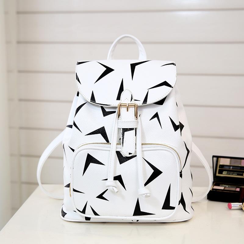 Classique noir et blanc satchel Coréenne étudiants de mode sac à dos de haute qualité en cuir PU shopping tourisme petit sac à dos.(China (Mainland))