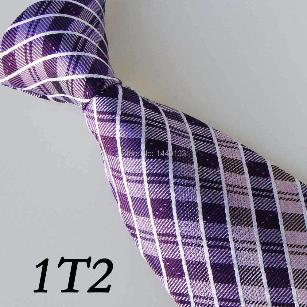 2015 Latest Style Silk Tie Dark Purple/White Grid Striped Design/Casual Dress/Shirt/Dresses/Vestido/Gift For Men Necktie For Men(China (Mainland))