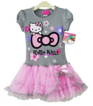 Hello Kitty Baby Girl's one piece dress Kitty cat printing Tutu dress free shipping