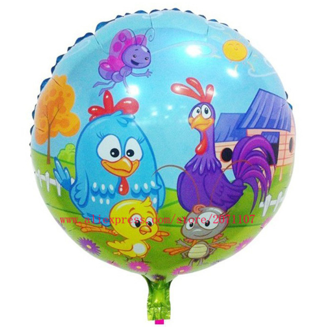 Lucky 10pcs/lot 45*45cm Round Galinha Pintadinha Balloon Birthday Party Decoration Globos Foil Air Balloon Chicken Balloons Toys(China (Mainland))