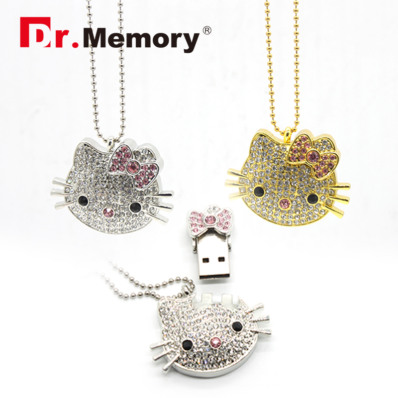 Hello Kitty Jewelry Crystal 64GB Pendrive Cartoon USB Flash Drive 4gb 8gb 16gb 32gb stick lightning USB flash disk with chain(China (Mainland))