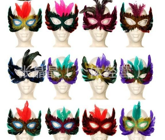 DIY Party feather mask sexy women adult Halloween MARDI GRAS carnival Easter colorful chicken feather Venice masks drop shipping(China (Mainland))