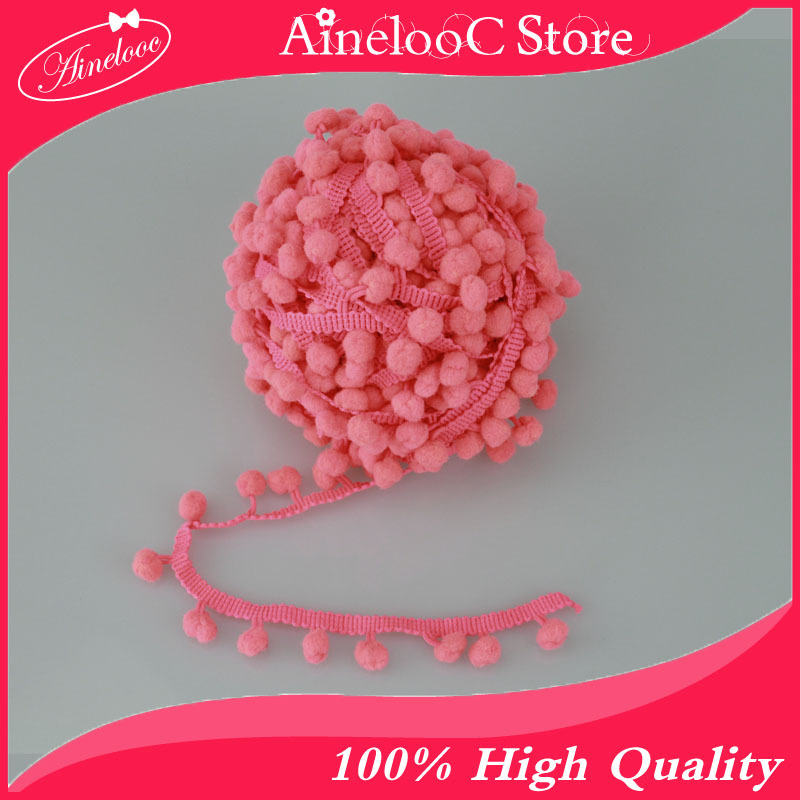 10 Yard /lot 10mm hot pink Ball Pompon lace fringe tassel trimming flower lace cotton lace clothes tassel accessories supplier(China (Mainland))