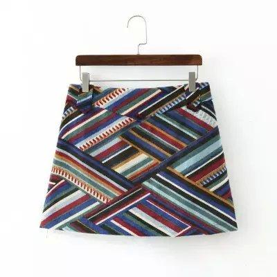 Qb51 мода женщины элегантный вельвет цвет srtiped печать мини юбки-line старинные ...