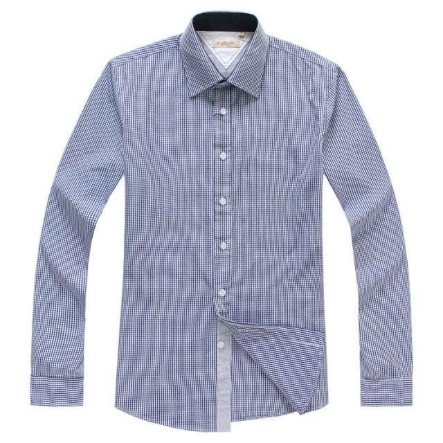 Luxury Brand famous designer shirts men top brand Long Sleeve Slim Fit 100%Cotton Plaid Striped Shirt Men Camisa Masculina - Happy beautiful day store
