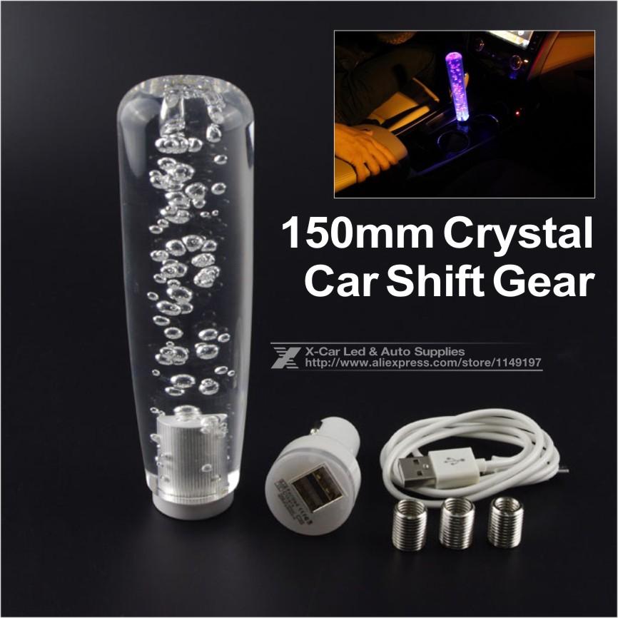Aliexpress com buy 15cm led light color changing crystal bubble gear shift knob manual shifter