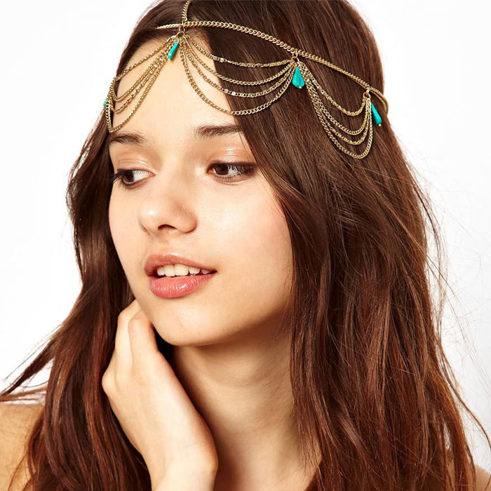 New Hot Fashion Excellent Style Women Head Turquoise Chain Jewelry Headband Party Headpiece Hair Band Free Shipping&Wholesale(China (Mainland))