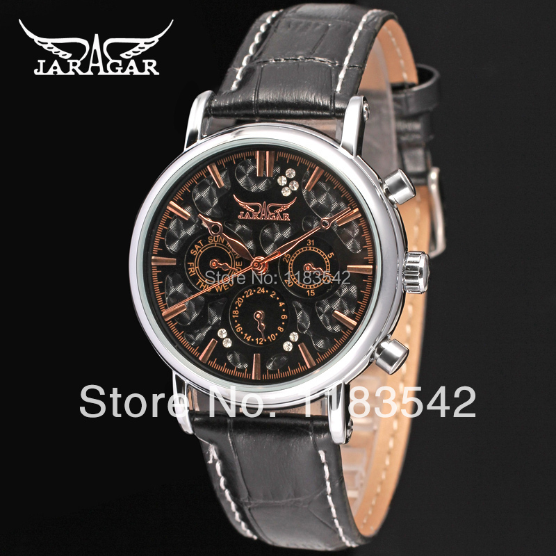 Jargar JAG6348M3S1 new men Automatic  fashion dress wristwatch silver color black leather  band   free shipping<br><br>Aliexpress