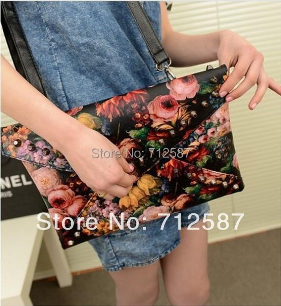 2013 punk oil painting clutch rivet day clutch bag envelope bag shoulder bag cross-body women's handbag Free Shipping#5954(China (Mainland))
