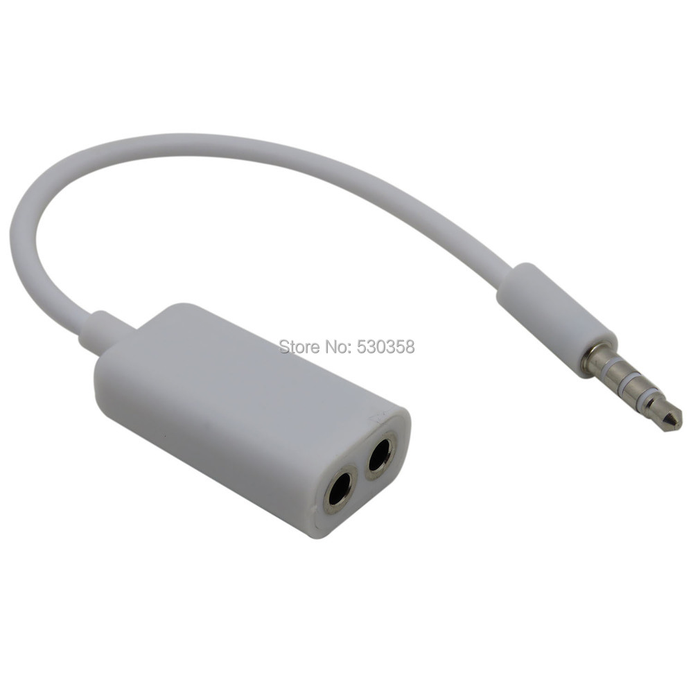 COOL Audio cable 1 to 2 audio aux cables cabo kabel for iPhone 5 4s Mobile Phone headphone speak3.5mm(China (Mainland))