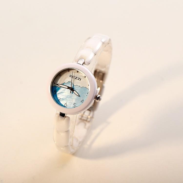 Девушка Кварцевые Наручные Часы Белая Керамическая Ремень Женские Часы Моды Часы Моды Студент Часы Круглый Дейл Дамы Jewelr Смотреть