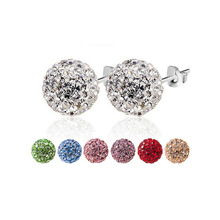 Brand Fashion Earrings 2014 Piercing Bijoux Mix Color Micro Disco Ball Earring Studs Clay CZ Crystal Earrings For Women Brincos