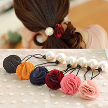 Buy 2 PCS/pack Fashion Women Lady Girls Pearl Flower Hairband Rope Scrunchie Nice Ponytail Holder Hair Band Accessories for $1.05 in AliExpress store