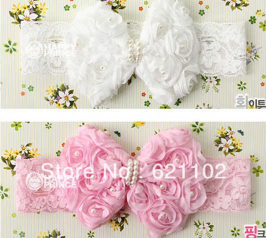Min order is US10 (mix order)Spring New Pearl knot ribbon issuer of a female baby hair bands hair accessories