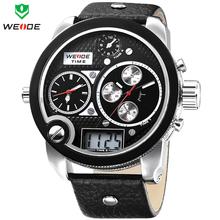 Moda de gran tamaño WEIDE LCD Digital Analog tres zona horaria fecha correa de cuero del cuarzo reloj reloj militar Mens relojes deportivos 3ATM