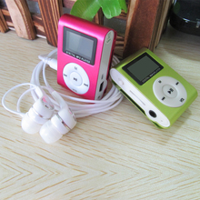 2015 New Portable MP3 LCD Screen Metal Mini Clip MP3 Player With Micro TF/SD Card Slot  + Earphone Music players