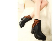 2014 color leopard with boots with thick low boots boots boots female nude