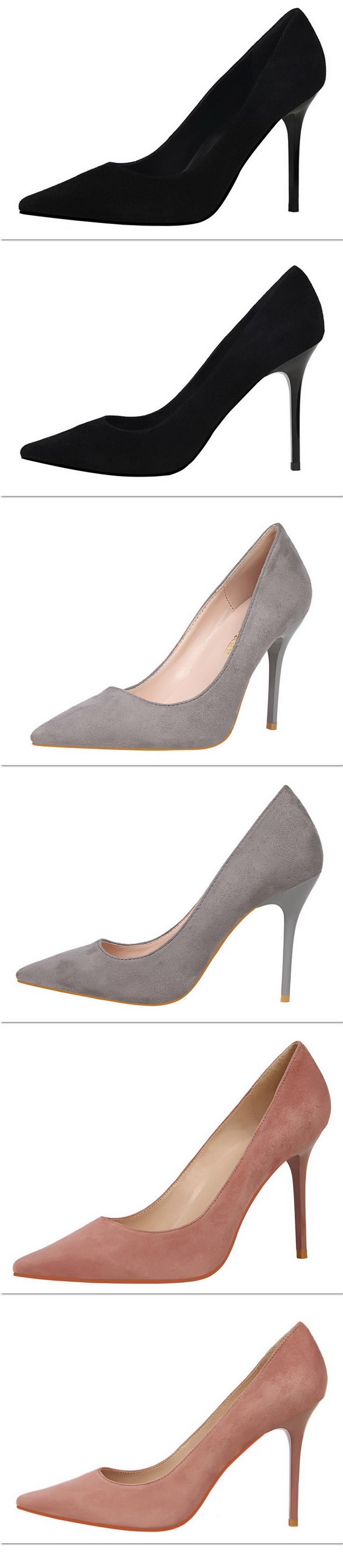 New fashion pointed toe women pumps shoes thin heels flock shallow concise Sexy women High heels shoes wedding pumps shoes