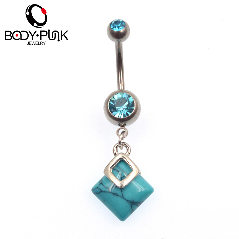 Turquoise stainless steel double rectangle navel rings 1pc for Belly button jewelry store