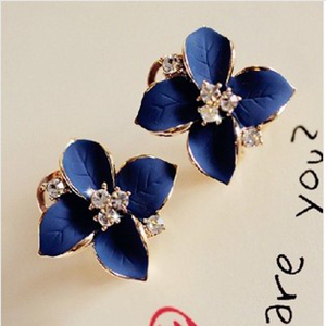 2015 New Fashion 18K Gold Plated Flower Crystal Stud Earrings Women Ladies Rhinestone Brincos Accessories - Her jewelry box ( Min. Order $7 store)