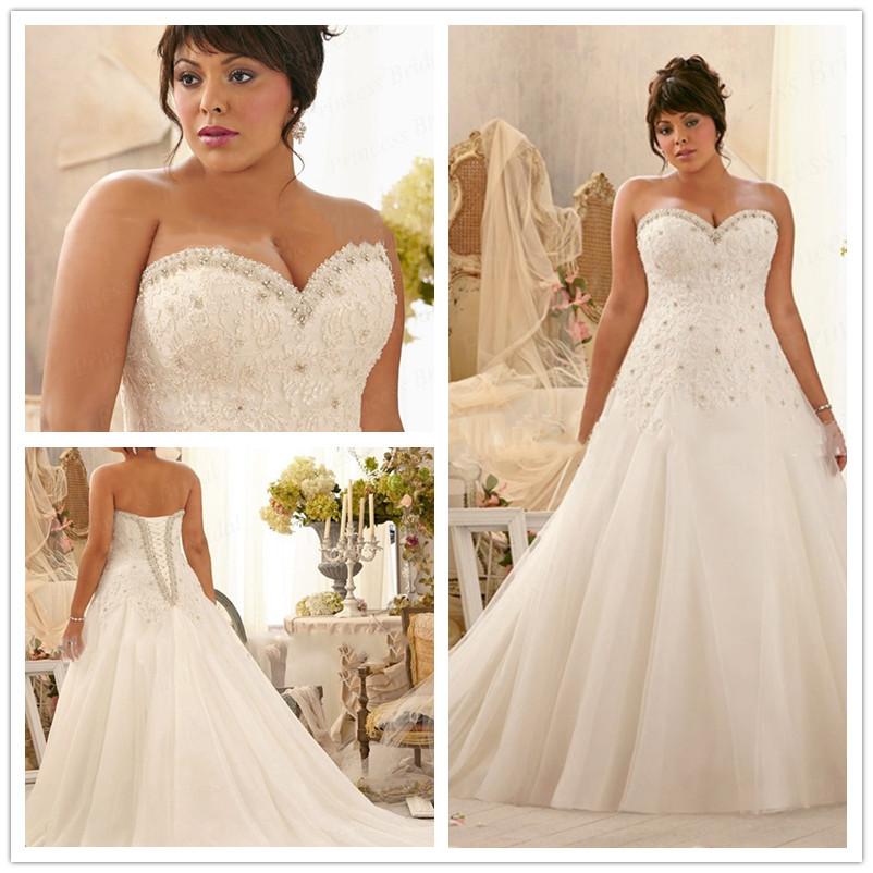 Buy elegant a line sweetheart applique for Super plus size wedding dresses