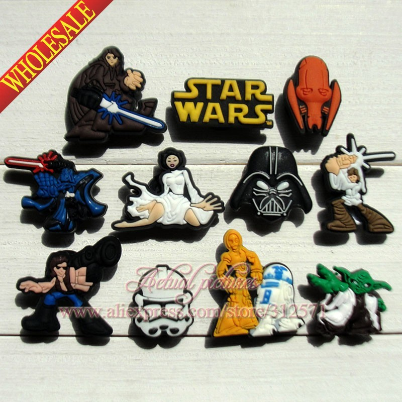 Wholesale 100pcs Star War PVC shoe decoration/shoe charms/shoe accessories fit for bracelets Kids Toy Gift<br><br>Aliexpress