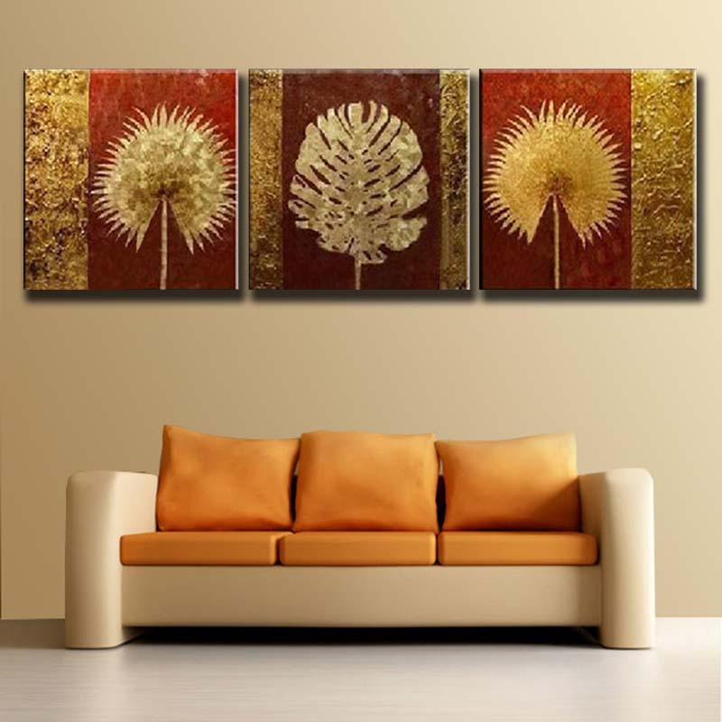 Free shipping hand painted modern abstract flower gold - Cuadros pequenos para decorar ...