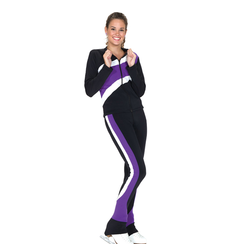 Costume Customized Ice Skating Figure Skating Suit Jacket And Pants Skater Warm Fleece Adult Child Girl White Purple Stripes(China (Mainland))