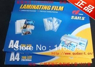 Free shipping 100pcs Sail a4 laminating film protective film plastic film 100mic(China (Mainland))