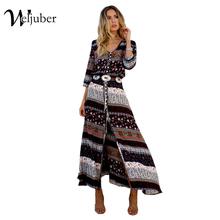Women Beach Boho Maxi Dress 2017 Summer High Quality Brand V-neck Print Vintage Long Dresses Feminine Plus Size Weljuber(China (Mainland))