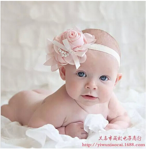 New goods rose flower hair accessories pearl headdress infant baby hair headband(China (Mainland))