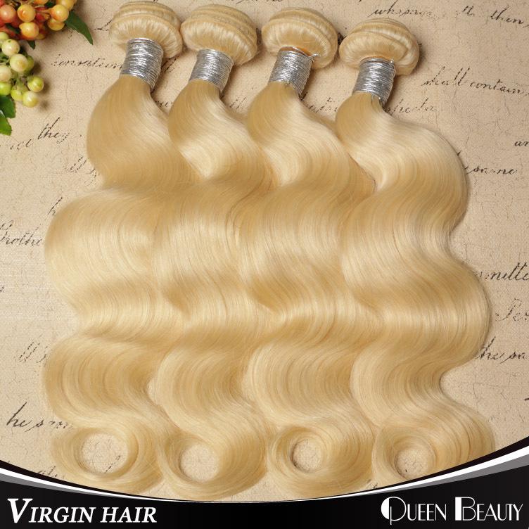 """Blonde Brazilian Hair 4Pcs Lot Brazilian Virgin Hair Body Wave 12""""-30"""" Color 613 Platinum Blonde Virgin Hair Weaving(China (Mainland))"""