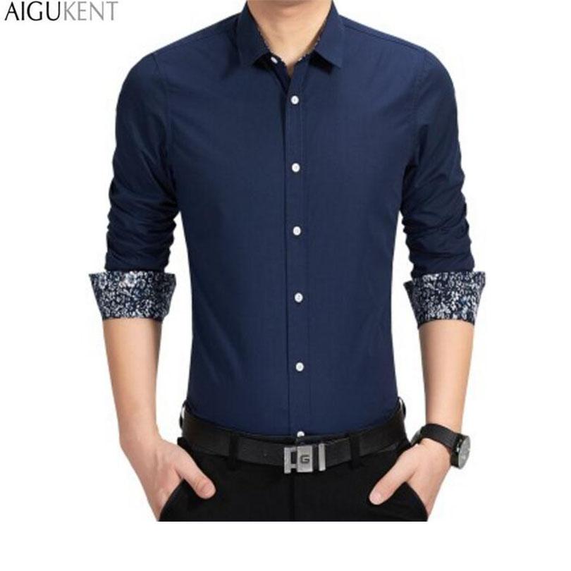 2016 new brand men 39 s casual shirt long sleeve banded for Branded casual shirts for men