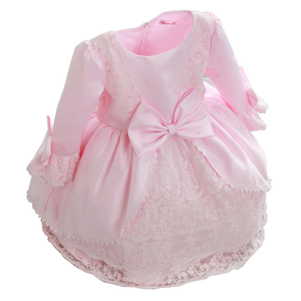 Girl's Lace Deluxe Bowknot Long Sleeve Princess Dress girl party dress kids wedding dress little girls gown dress(China (Mainland))